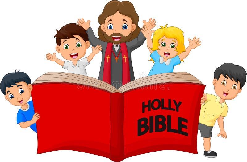 Niños con un sacerdote Reading la Sagrada Biblia ilustración del vector