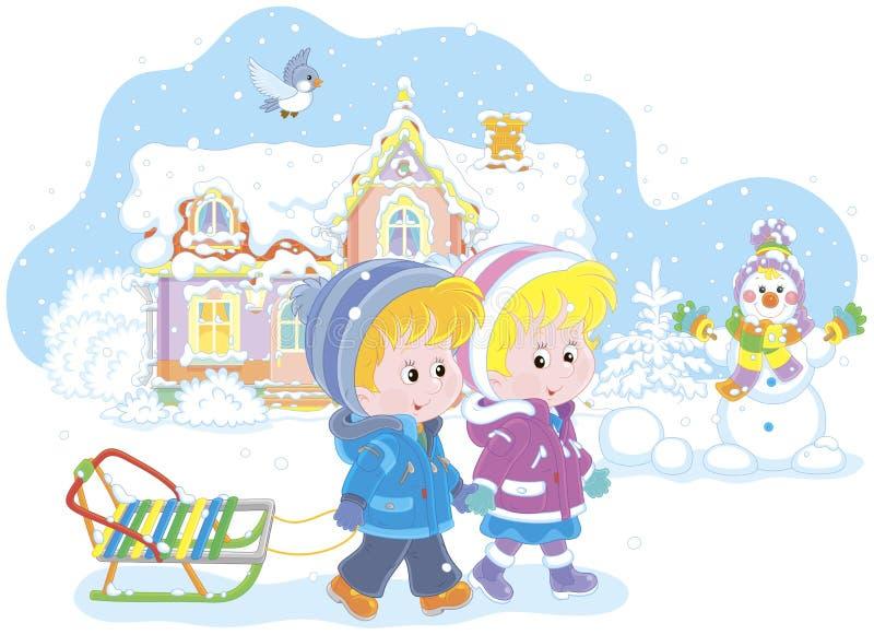 Niños con un trineo en un día de invierno nevoso stock de ilustración