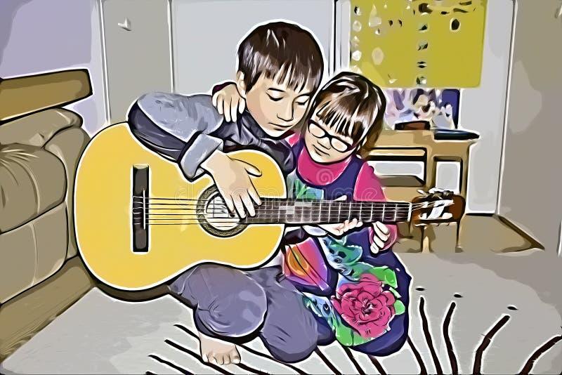 Niños confinados aprendiendo guitarra stock de ilustración
