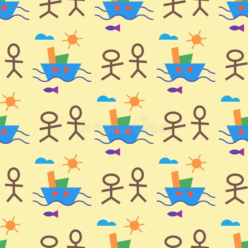 Niños creativos del vector inconsútil del modelo de la creatividad de los niños que dibujan el ejemplo infantil del contexto del  ilustración del vector