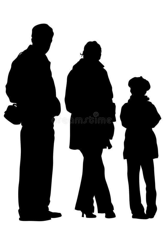 Niños cuatro de la pizca de Famely stock de ilustración