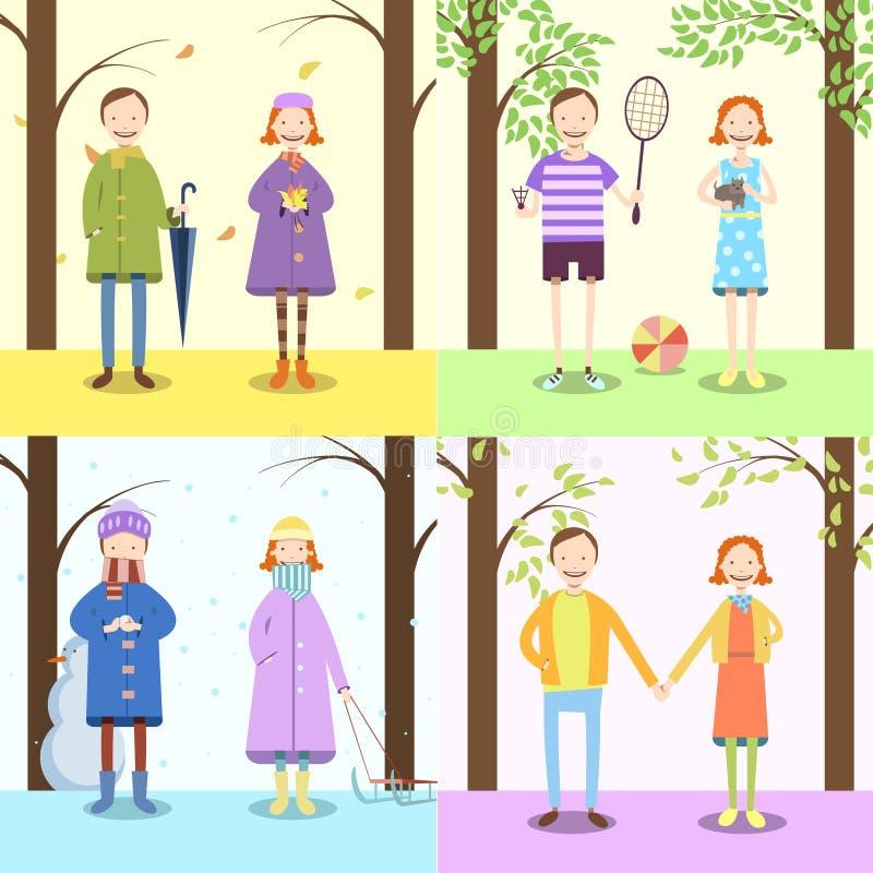 Niños, cuatro estaciones stock de ilustración