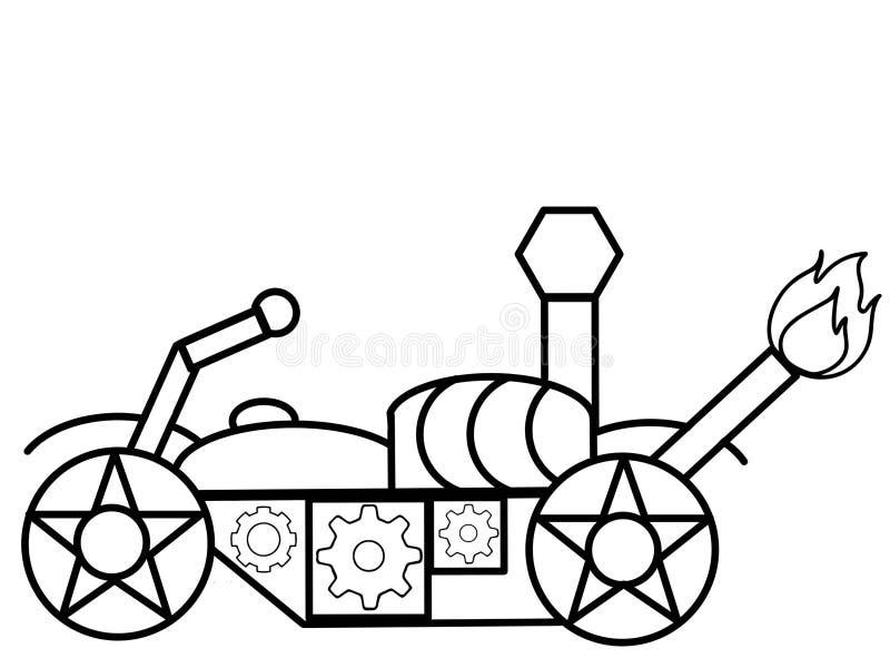 Niños de alta calidad de la motocicleta que colorean las páginas stock de ilustración