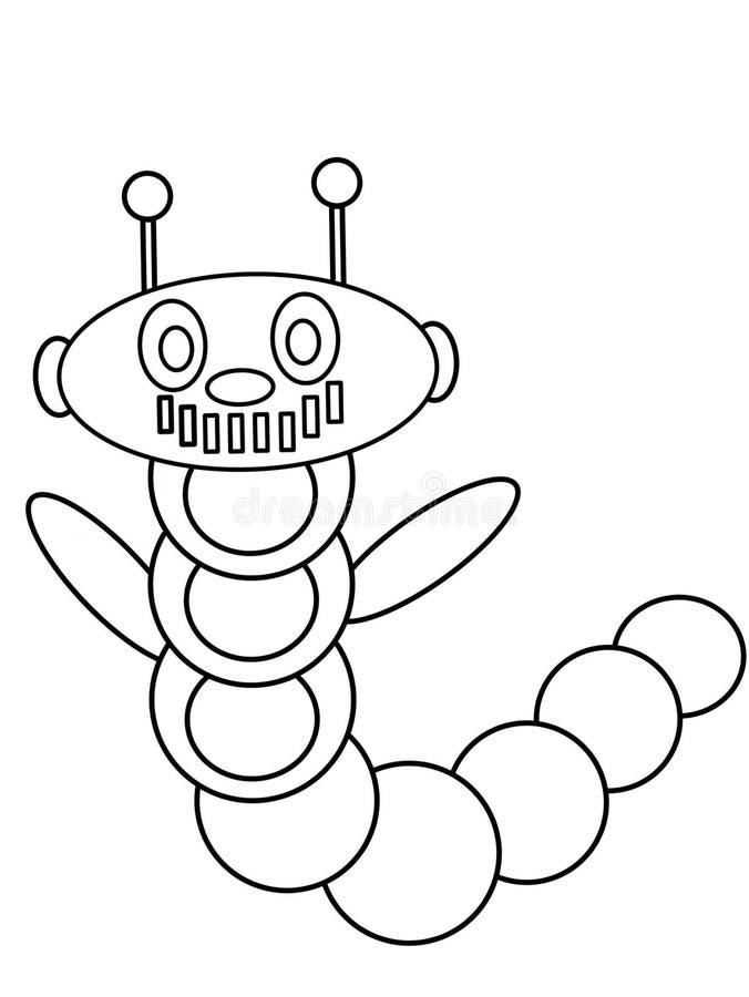 Niños de alta calidad del robot del gusano que colorean las páginas libre illustration
