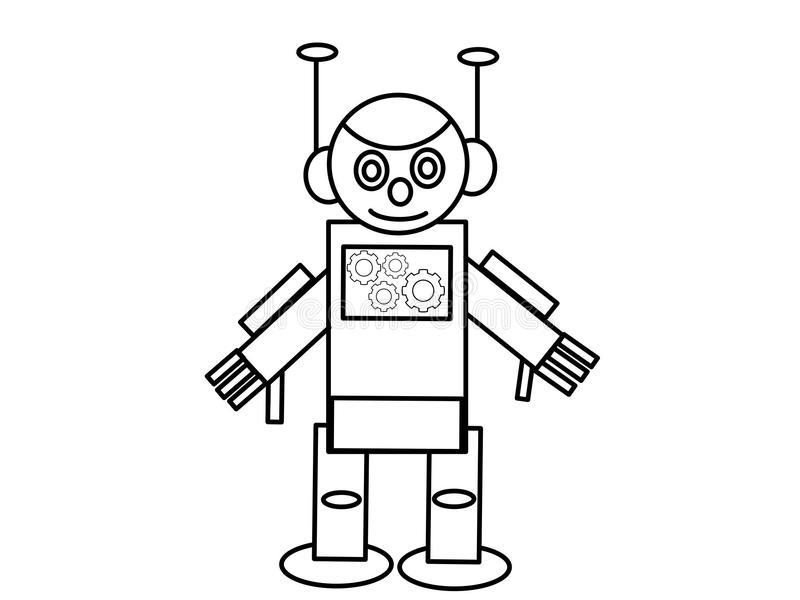 Niños de alta calidad del robot que colorean las páginas libre illustration