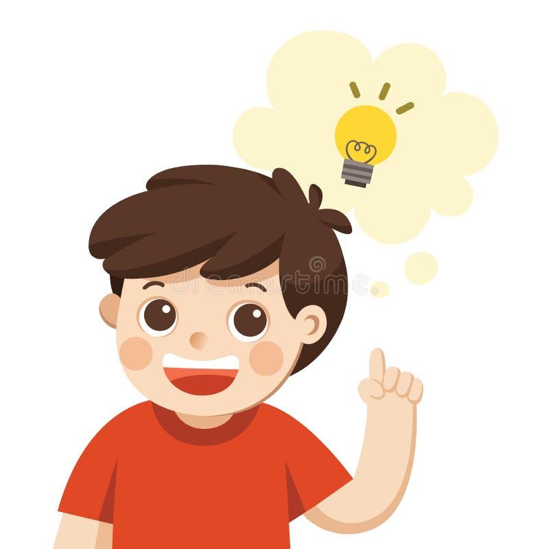 Niños de aprendizaje y crecientes Un pensamiento lindo del muchacho ilustración del vector
