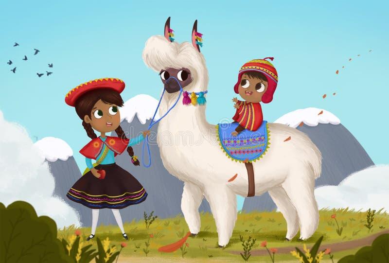 Niños de Bolivia stock de ilustración