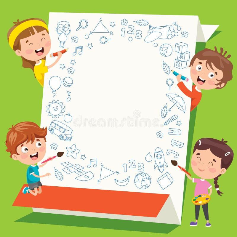 Niños De Caricatura Con Un Marco Con Espacio Para Copiar foto de archivo libre de regalías