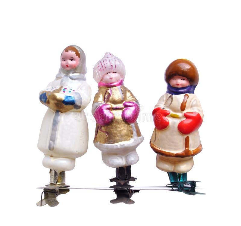 Niños de cristal soviéticos retros de los juguetes de la decoración del Año Nuevo del árbol de navidad del vintage en traje tradi imagenes de archivo