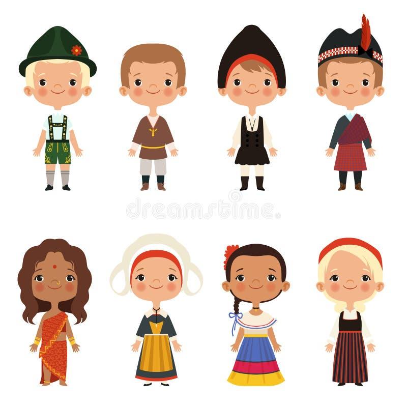 Niños de diversas nacionalidades stock de ilustración