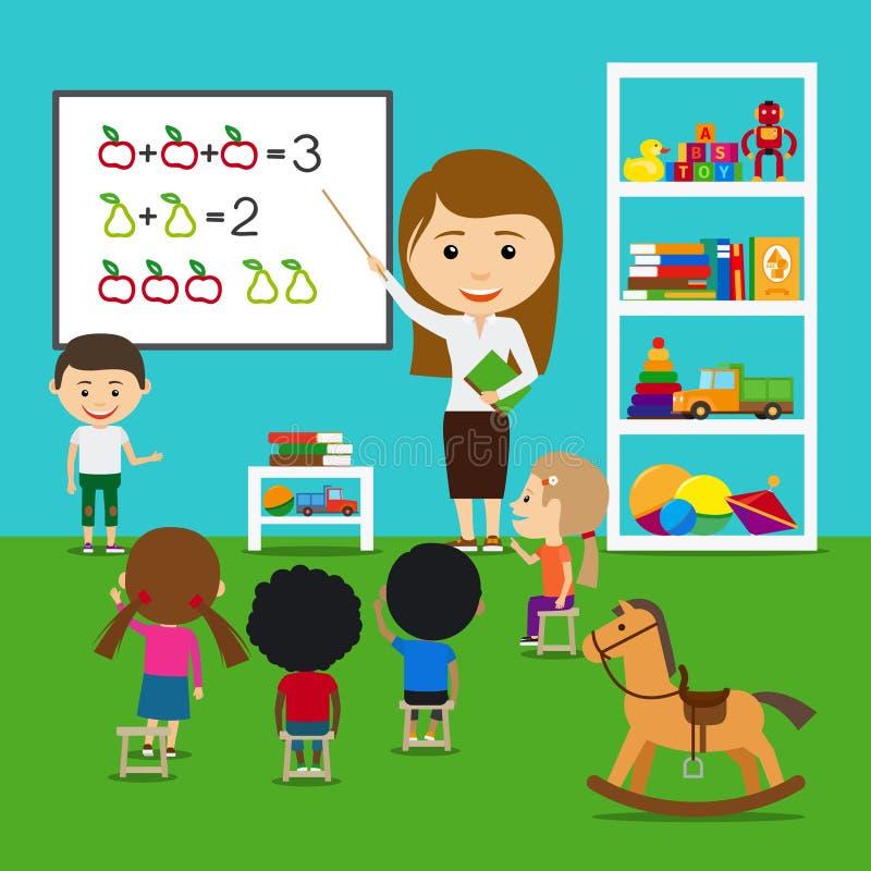 Niños de enseñanza del profesor stock de ilustración