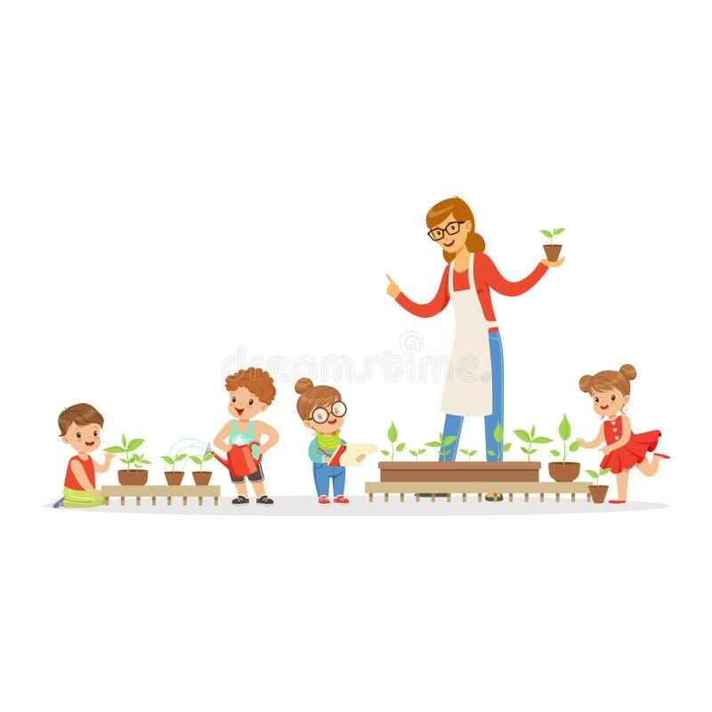 Niños de explicación del profesor amistoso sobre las plantas durante la lección de la botánica en el ejemplo del vector de la his stock de ilustración