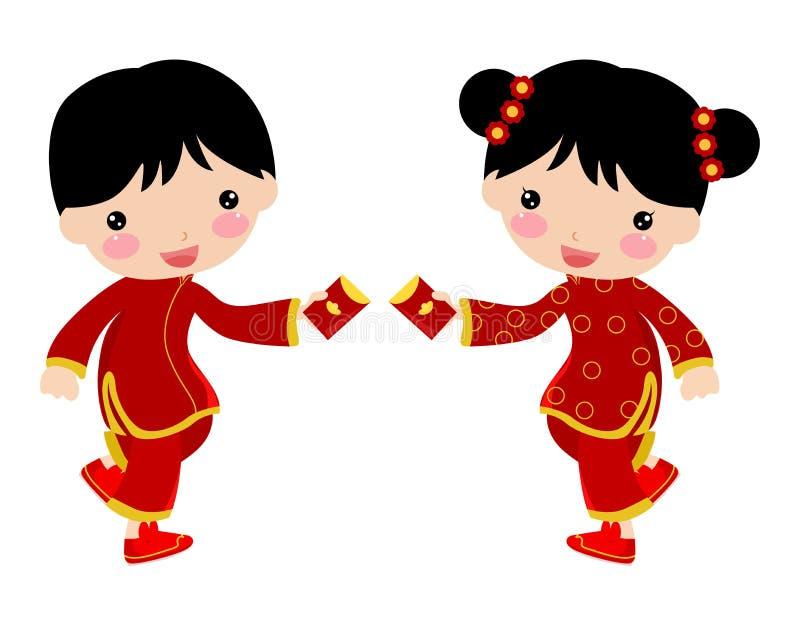 Niños de Greetings_chinese del Año Nuevo libre illustration