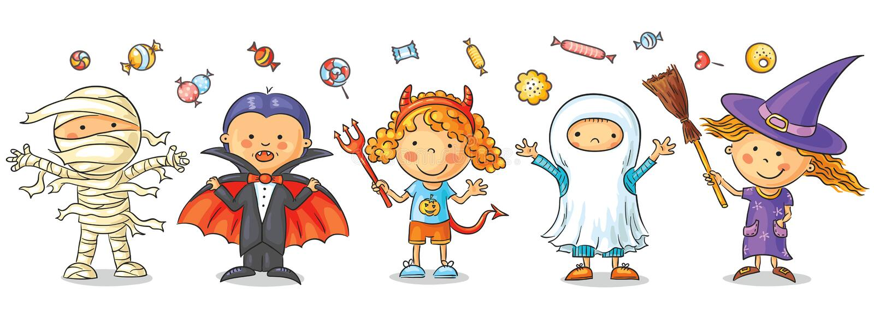 Niños de Halloween stock de ilustración