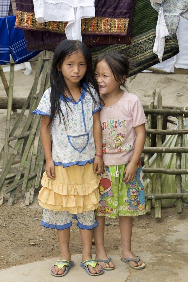 Niños de Hmong del retrato en Laos fotografía de archivo