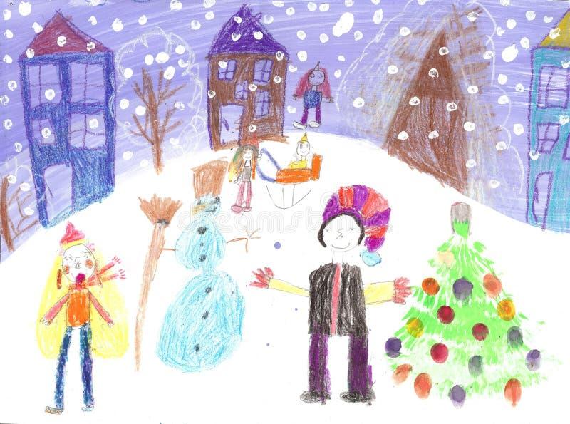 Niños de la acuarela que dibujan paseo del trineo del invierno libre illustration