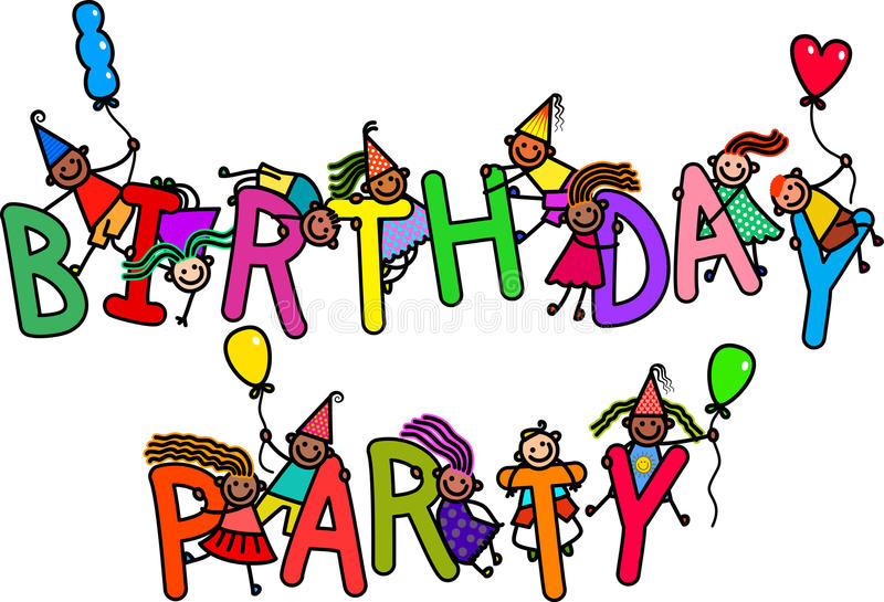 Niños de la fiesta de cumpleaños ilustración del vector