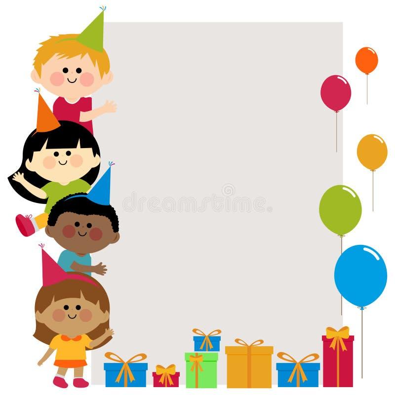 Niños de la fiesta de cumpleaños que sostienen la bandera en blanco vertical ilustración del vector