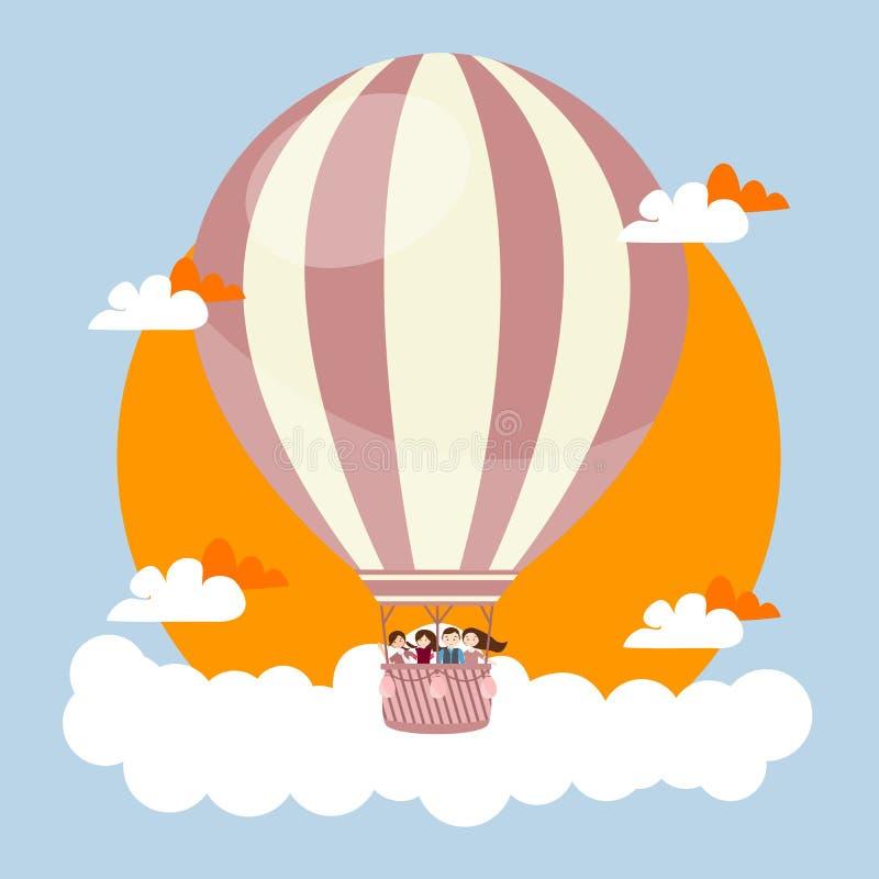 Niños de la gente que vuelan en cielo con viaje caliente del ejemplo del vector de los amigos del globo stock de ilustración