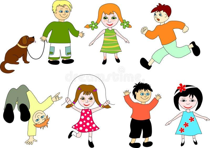 Niños de la historieta.   stock de ilustración
