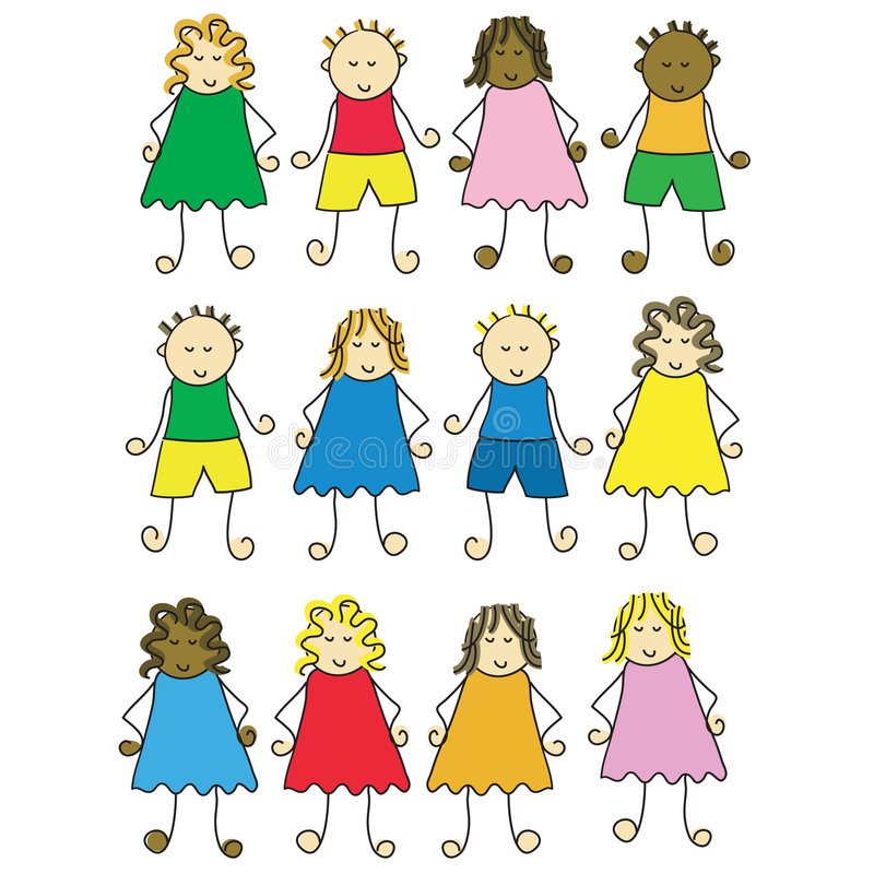 Niños de la historieta ilustración del vector