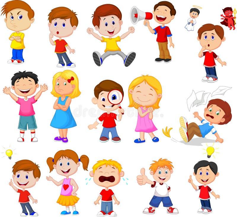 Niños de la historieta con diversa expresión libre illustration