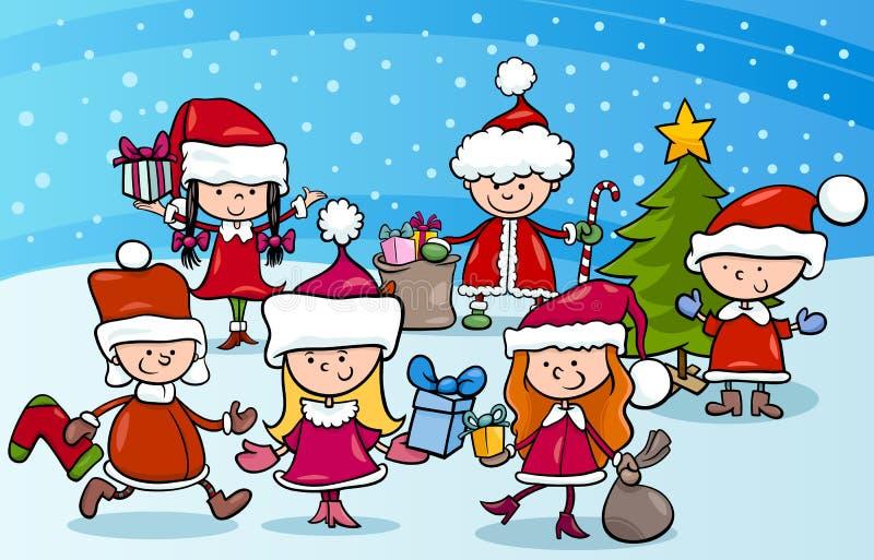 Niños de la historieta en la Navidad stock de ilustración