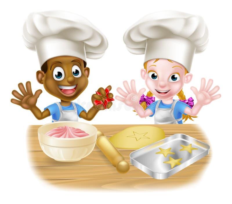 Niños de la historieta que cuecen en el cocinero Hats stock de ilustración