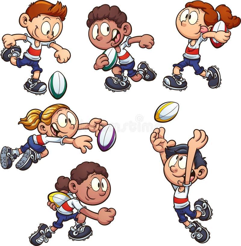 Niños de la historieta que juegan a rugbi stock de ilustración