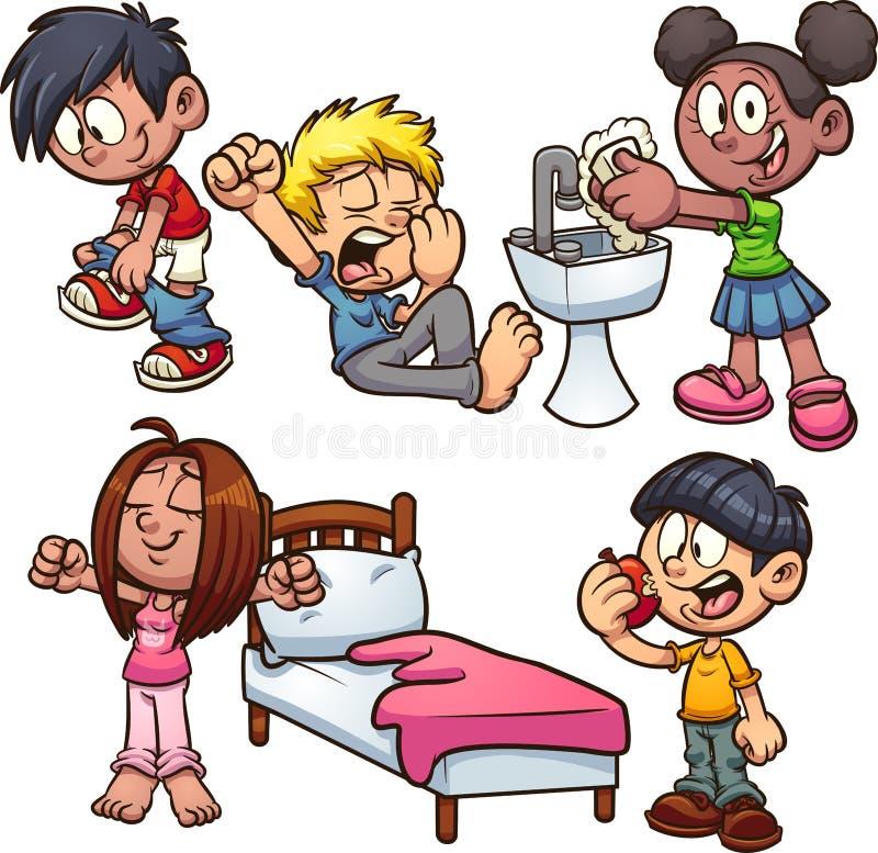 Niños de la historieta que realizan diversas acciones libre illustration