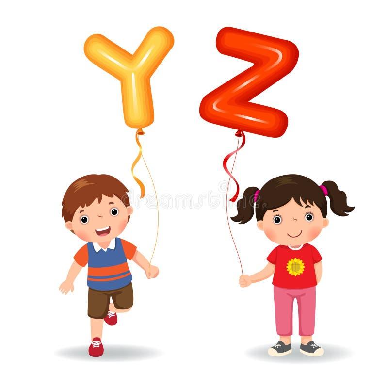 Niños de la historieta que sostienen los globos formados YZ de la letra stock de ilustración