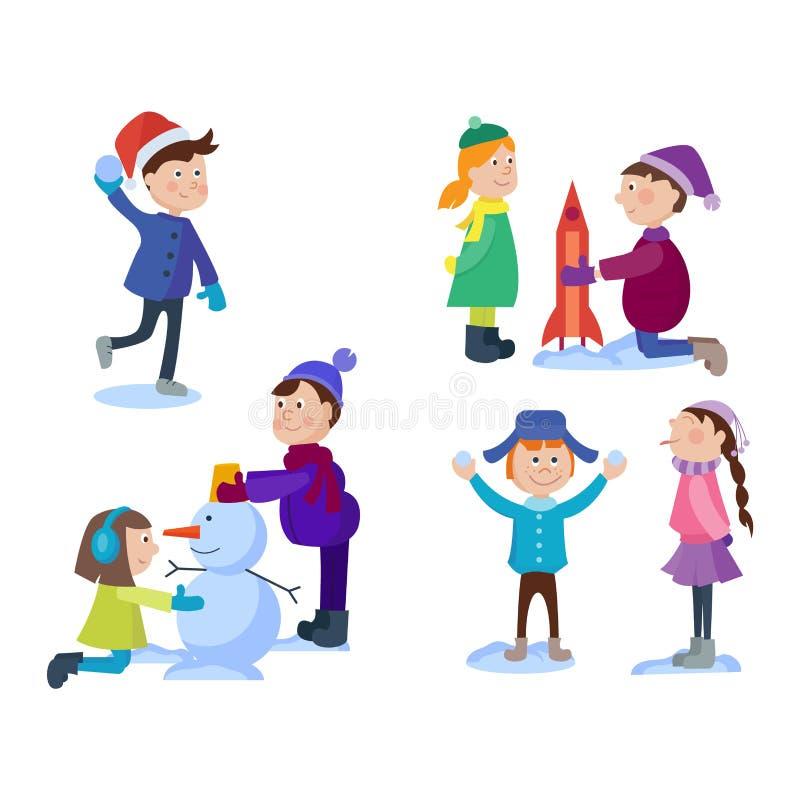 Niños de la Navidad que juegan a juegos del invierno ilustración del vector