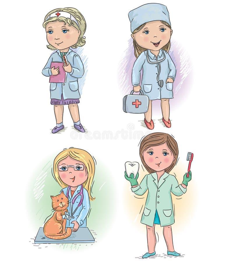 Niños 4 de la profesión stock de ilustración