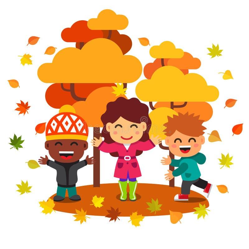 Niños de la raza mixta que se divierten y que juegan con las hojas libre illustration