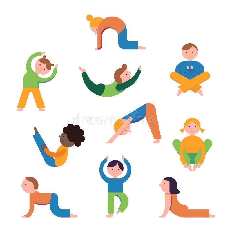 Niños de la yoga fijados stock de ilustración