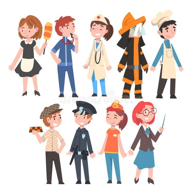 Niños de las diversas profesiones sistema, criada, coche, doctor, bombero, cocinero, Taxi Driver, policía, vendedor de los alimen libre illustration