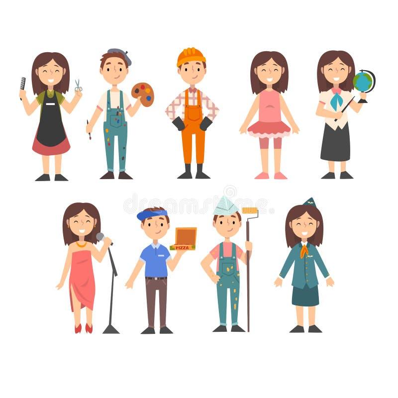 Niños de las diversas profesiones sistema, peluquero, pintor, trabajador de construcción, bailarín, profesor, cantante, muchacho  libre illustration