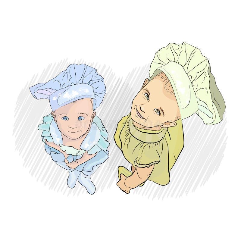 niños de los cocineros dos niños están mirando ilustración del vector