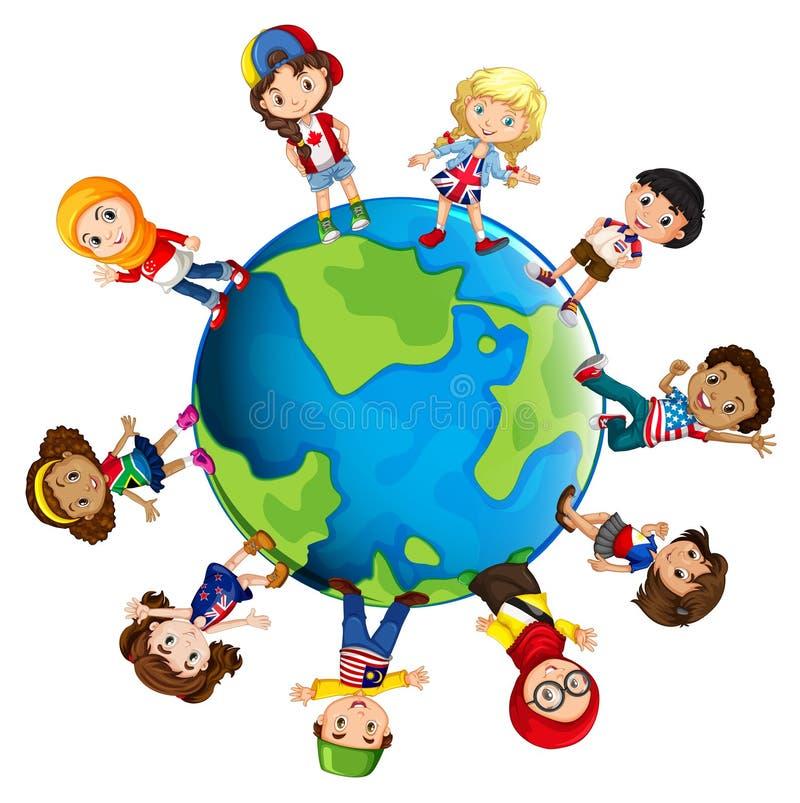 Niños de los países diferentes del mundo stock de ilustración