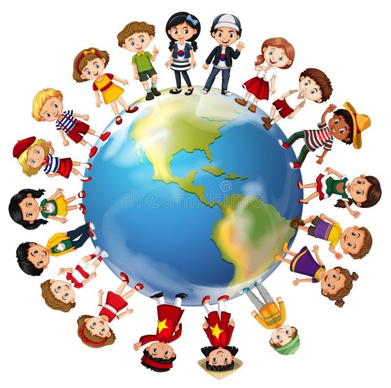 Niños de muchos países en todo el mundo libre illustration