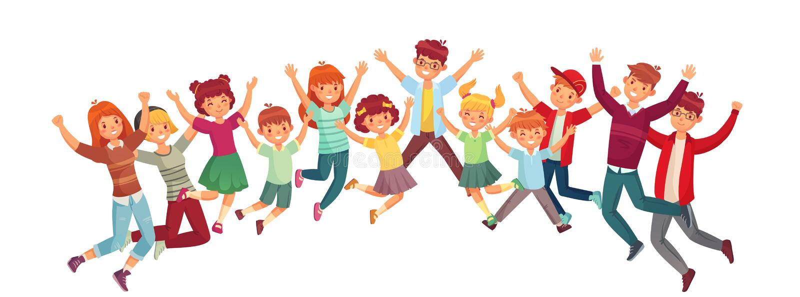 Niños de salto Vector del salto de los niños emocionados o ejercicio junto del sistema aislado ejemplo stock de ilustración
