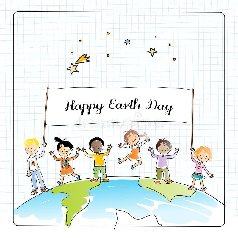 Niños del Día de la Tierra stock de ilustración