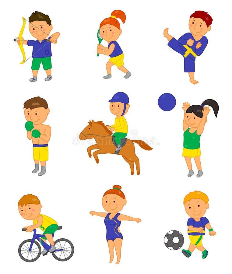 Niños del deporte de la historieta Ejemplo del vector para el juego olímpico 2016 del Brasil stock de ilustración