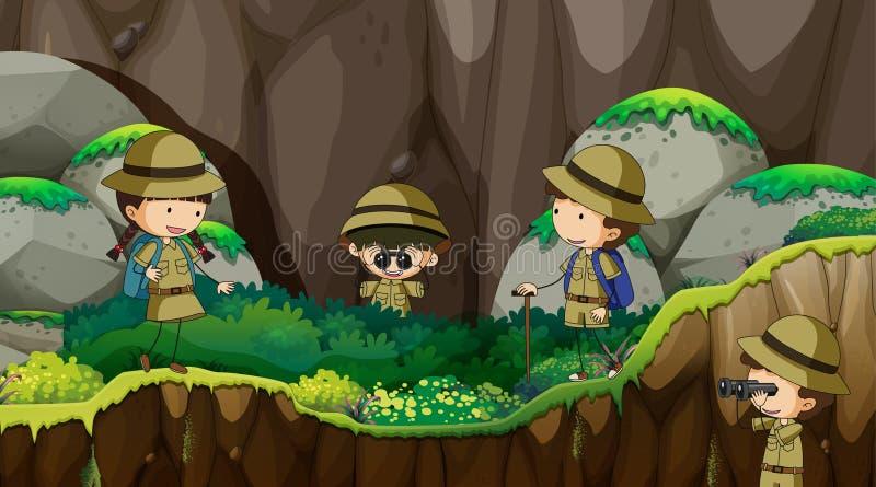 niños del explorador que exploran la naturaleza libre illustration