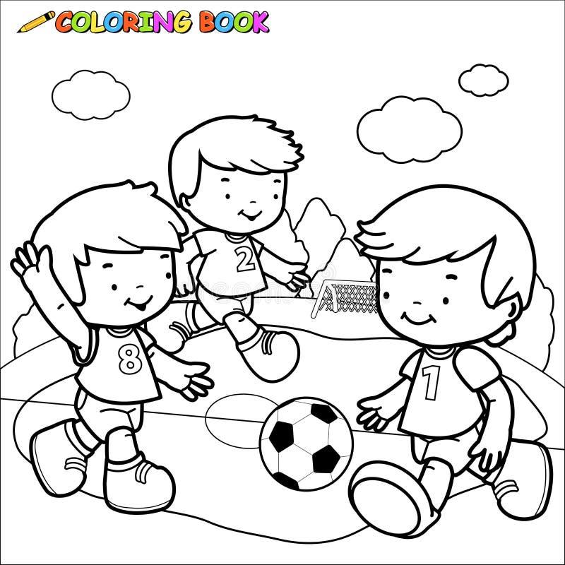 Niños Del Fútbol Del Libro De Colorear Ilustración del Vector ...
