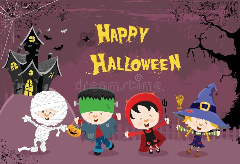 Niños del feliz Halloween libre illustration