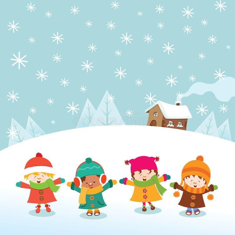 Niños del invierno stock de ilustración