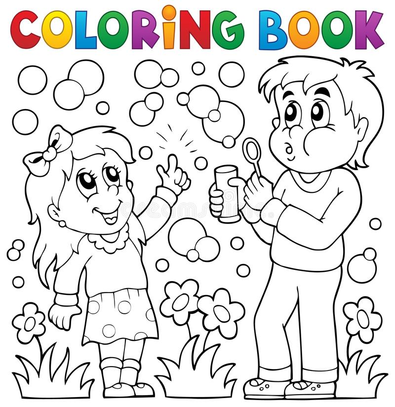 Niños Del Libro De Colorear Con El Equipo De La Burbuja Ilustración ...