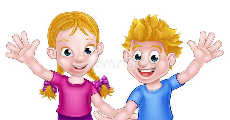Niños del muchacho y de la muchacha de la historieta stock de ilustración