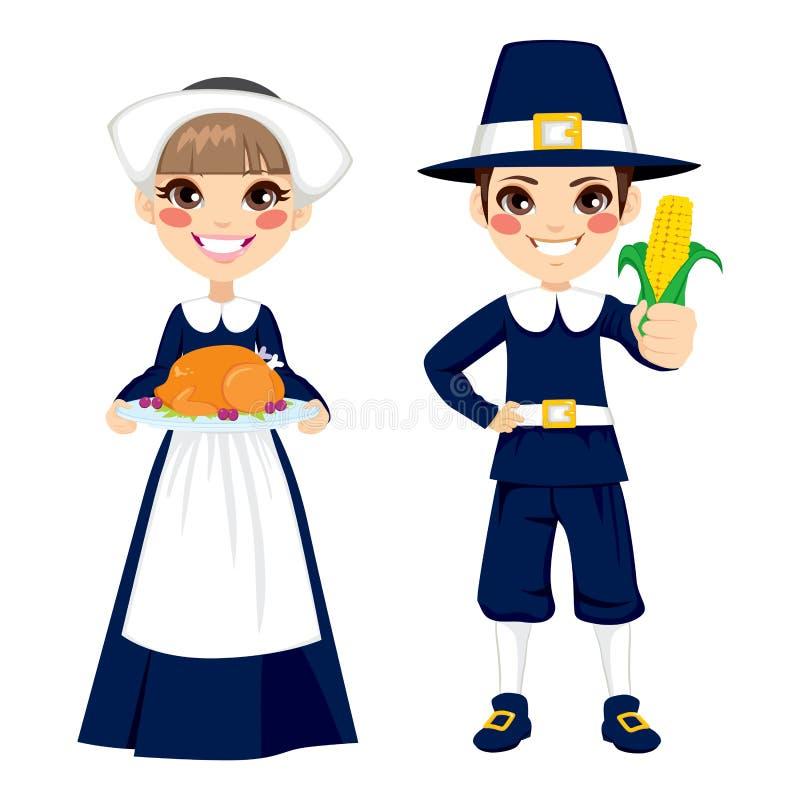 Niños del peregrino de la acción de gracias ilustración del vector